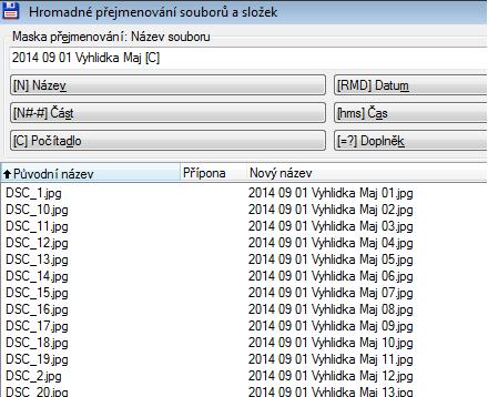 Syntaxe názvu nových souborů