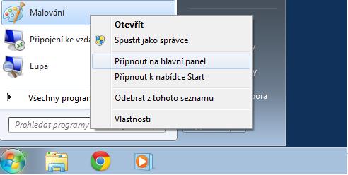 Připnout ikonu k hlavnímu panelu