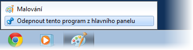 Odebrání ikony z hlavního panelu